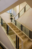 White marble stairs and handrail Stock Images
