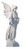 White marble statue of a beautiful female angel. Isolated on white with clipping path Stock Photography