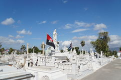 White marble statues at the cemetery. At Santa Ifigenia cemetery in Santiago de Cuba Royalty Free Stock Photos
