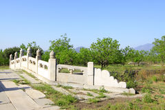 White marble stone bridge in the Eastern Royal Tombs of the Qing Royalty Free Stock Images
