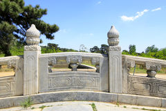 White marble stone bridge railing in the Eastern Royal Tombs of Royalty Free Stock Photo
