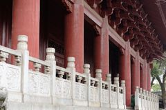 White marble stone fence-A corner of the park. Shengjin tower brick Pavilion style tower Jiangnan typical, 50.86 meters high tower, the tower for the seven layer Stock Photos