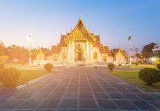 White marble temple Bangkok Thailand. Famous historic landmark Royalty Free Stock Images