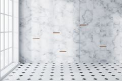 White marble and tiled panoramic bathroom empty. White marble and tiled panoramic bathroom interior with a large window, and a white and black tiled floor. 3d Royalty Free Stock Photo