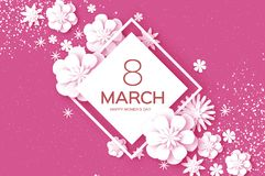 White 8 March. Happy Women s Day. Trendy Mother s Day. Paper cut Floral Greeting card. Origami flower. Text. Rhombus. Frame. Spring blossom on pink. Seasonal vector illustration