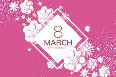 White 8 March. Happy Women`s Day. Trendy Mother`s Day.. Paper cut Floral Greeting card. Origami flower. Text. Rhombus frame. Spring blossom on pink. Seasonal Stock Photo