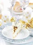 White marchpane cake for Christmas stock photo
