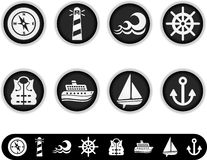 White marine icons Stock Photography