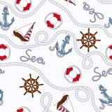 White marine seamless pattern Stock Photo