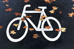 White mark bicycle lane at Stock Photos