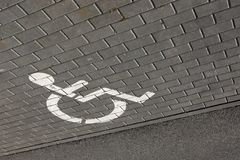 White marking on gray asphalt Royalty Free Stock Images