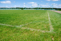 White marking on a ground. White marking on a football ground Stock Photography