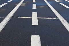 White markings on the pavement Royalty Free Stock Photos