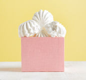 White marshmallow dessert in pink box Stock Image