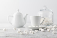White marshmallow on table Stock Images