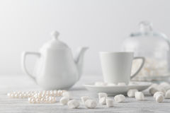 White marshmallow on table Royalty Free Stock Photography