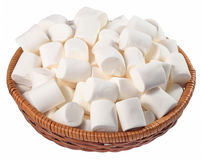 White marshmallow in a wicker bowl on a white Stock Photo