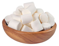 White marshmallow in a wooden bowl on a white Stock Images