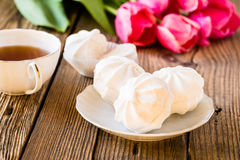 White marshmallow or zephyr dessert Royalty Free Stock Image