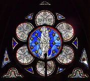 White Mary Jesus Stained Glass Notre Dame Paris France Stock Image