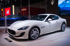 A white maserati car. Take on the 16th Chongqing International Motor Show, June 6th-12th, 2014. There are many international famous brand companies and Royalty Free Stock Photography
