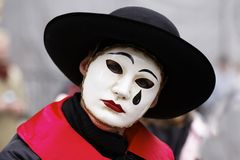 White mask. Historic carnival with white mask Stock Images