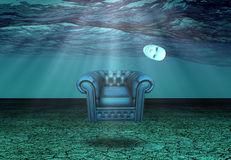 White Mask and armchair in underwater desert Stock Photography