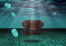 White Mask and armchair in underwater desert Royalty Free Stock Images
