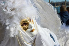 White mask with feathers Stock Photos