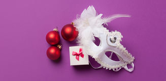 White mask and girl box Stock Photo