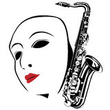White mask and saxophone Royalty Free Stock Image