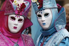 White masks. Historic carnival with white masks Royalty Free Stock Photos
