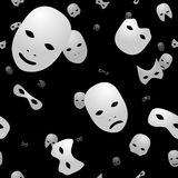 White masks on black seamless background Stock Photography