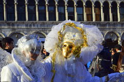White masks people Venice  Carnival Stock Photo