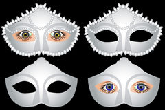 White masquerade masks and female eyes, carnival. Vector Stock Image