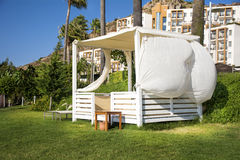 White massage tent under a green palm trees Royalty Free Stock Image