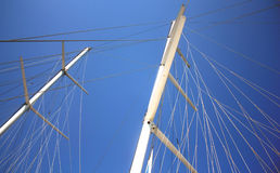 White mast of the yacht in the sea Stock Photo