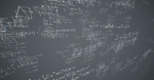 White math doodles and grey background. Digital composite of White math doodles and grey background Stock Image