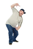 White mature guy likes to dance hip-hop. White mature guy in cap likes to dance hip-hop Stock Images