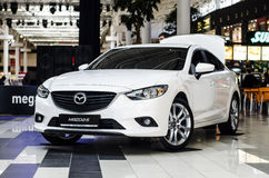 White Mazda 6 Sedan family  car Royalty Free Stock Photo