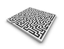 White maze. Labyrinth isolated perspective view Royalty Free Stock Photos