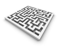 White maze. Labyrinth isolated perspective view Royalty Free Stock Image