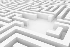 White maze, complex way to find exit. Royalty Free Stock Photos