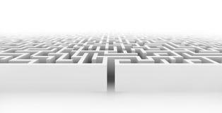 White maze, complex way to find exit. White maze, complex way to find exit, business concept Stock Photography