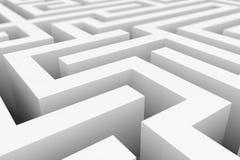 White maze, complex way to find exit. White maze, complex way to find exit, business concept Royalty Free Stock Photo