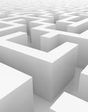 White maze, complex way to find exit. Royalty Free Stock Photography