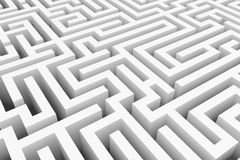 White maze, complex way to find exit. Stock Photography