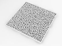 White maze, complex way to find exit. Royalty Free Stock Photo