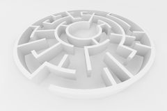 White maze, complex way to find exit. White maze, complex way to find exit, business concept Royalty Free Stock Image