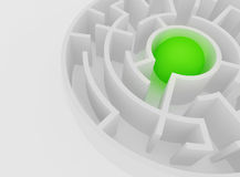 White maze, complex way to find exit. White maze with green ball at centre, complex way to find exit, business concept Royalty Free Stock Images